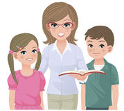 Young school teacher and happy pupils