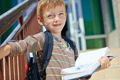 Young schoolboy with book stock photography