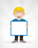 Young schoolboy with empty message board for text Royalty Free Stock Image
