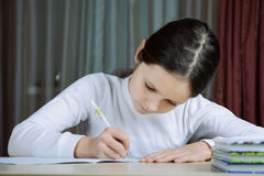 Young schoolboy girl does his homework Royalty Free Stock Photo