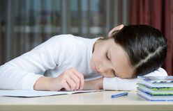 Young schoolboy girl does his homework Royalty Free Stock Photos