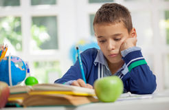 Young schoolboy studyng at home Stock Image