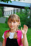 Young schoolgirl going to school Stock Photography