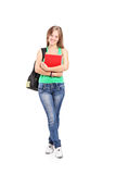 Young schoolgirl holding books Royalty Free Stock Photo