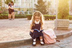 Young schoolgirl reading a book stock images