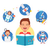 Young science learner kid. School student studying reading book and dreaming about future profession. Flat style vector illustration and icons  on white Royalty Free Stock Image