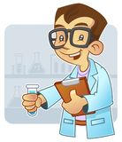 Young scientist. Doing an experiment in laboratory royalty free illustration