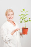 Young scientist botanic with green tree Stock Photo