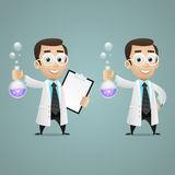 Young scientist holds test tube and tablet Royalty Free Stock Images
