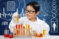 Young scientist in laboratory. Attractive young scientist doing experiment with chemical fluid in laboratory Royalty Free Stock Photo