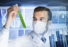 Portrait of concentrated male scientist working with reagents in laboratory Stock Photos