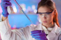 Young scientist pipetting. Royalty Free Stock Photo