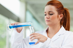Young scientist pouring blue liquid Stock Image