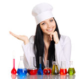 Young scientist at the table with test tubes Stock Image