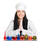 Young scientist at the table with test tubes Royalty Free Stock Image