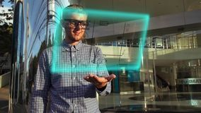 Young Scientist Use Futuristic Hologram Interface