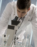 Young scientist watching inside a microscope Royalty Free Stock Photo