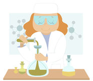 Young scientist. Young woman scientist conducts an experiment at the laboratory vector illustration