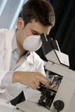 Young scientist working at the microscope Stock Photography