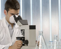 Young scientist working at the microscope Royalty Free Stock Image