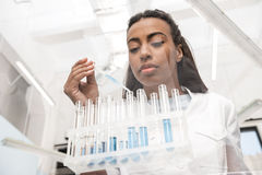 Young scientist working with test tubes and reagents in chemical lab. Low angle view of young scientist working with test tubes and reagents in chemical lab stock image