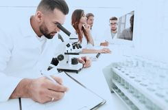 Young scientist works in the lab. Concept of teamwork Stock Photography