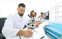 Young scientist works in the lab. Concept of teamwork Stock Images