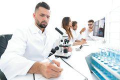 Young scientist works in the lab. Concept of teamwork Stock Image