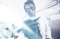 Young scientist writes a formula on a glass Board royalty free stock image