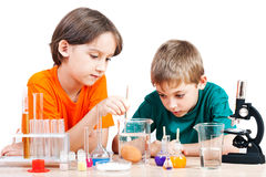 Young scientists. Two little boys doing biochemistry research at the lab. Isolated on white Royalty Free Stock Photo