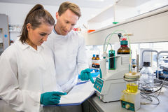 Young scientists conducting an experiment together Royalty Free Stock Photo