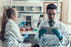Young Scientists doing Research in Laboratory. Male Researcher wearing white Coat sitting and looking at Tablet in Laboratory whyle Female Scientist examining Royalty Free Stock Image