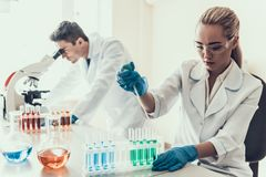 Young Scientists examining Samples in Laboratory. Female Researcher looking at Chemical Liquid Samples in Flasks while Male Scientist using Microscope Stock Photo