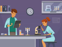 Young Scientists In Lab Composition Poster royalty free illustration