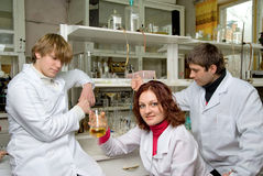 Young scientists  in laboratory Stock Images