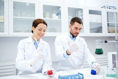 Young scientists making test or research in lab Royalty Free Stock Images