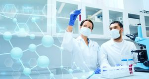 Young scientists making test or research in lab Royalty Free Stock Image
