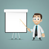 Young scientists points on flipchart Royalty Free Stock Photography
