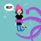 Young screaming female character attacked by octopus / flat edit vector illustration