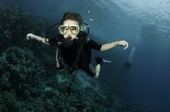Young scuba diver Stock Images