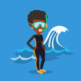 Young scuba diver vector illustration. Royalty Free Stock Images