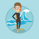 Young scuba diver vector illustration. Stock Photos