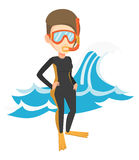 Young scuba diver vector illustration. Stock Photo