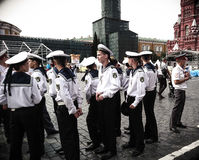Young seamen. Moscow, Russia, Red square. Young sailors in uniform Stock Photo