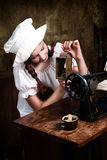Young seamstress with old lamp Stock Images
