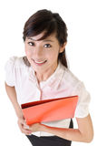 Young secretary. Closeup portrait of young secretary with smiling face holding file document Stock Photography