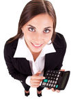 Young secretary with calculator Royalty Free Stock Image