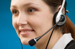 Young secretary with handfree headset Stock Image