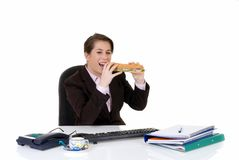 Young secretary, lunch break Royalty Free Stock Photography