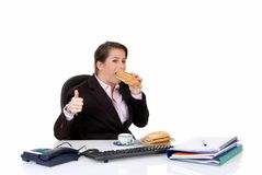 Young secretary, lunch break Royalty Free Stock Photo